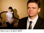 Купить «Бизнесмен в костюме и красивая брюнетка на заднем плане», фото № 2027897, снято 24 ноября 2009 г. (c) Losevsky Pavel / Фотобанк Лори
