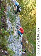 Купить «Скалолазы на туристическом маршруте (Via Ferrata)», фото № 2034397, снято 14 августа 2010 г. (c) Игорь Р / Фотобанк Лори