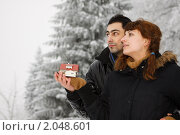 Купить «Молодая счастливая семья с моделью дома в руках на фоне зимнего пейзажа. Концепция покупка жилья», фото № 2048601, снято 14 января 2010 г. (c) Мельников Дмитрий / Фотобанк Лори
