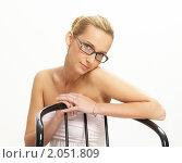 Купить «Красивая блондинка в очках», фото № 2051809, снято 3 октября 2010 г. (c) Egorius / Фотобанк Лори