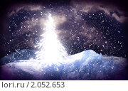 Новогодний фон, светящаяся ель. Стоковая иллюстрация, иллюстратор Дмитрий Хрусталев / Фотобанк Лори