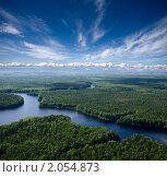Купить «Воздушный вид на лесную реку», фото № 2054873, снято 29 июня 2008 г. (c) Владимир Мельников / Фотобанк Лори