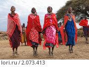Купить «Женщины из племени масаев исполняют танец прыжков. Кения», фото № 2073413, снято 23 августа 2010 г. (c) Знаменский Олег / Фотобанк Лори