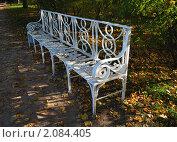 Ажурная скамейка в осеннем парке (2010 год). Редакционное фото, фотограф Елена Реднева / Фотобанк Лори