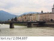 Вид на город Зальцбург со стороны реки Зальцах. Австрия (2010 год). Редакционное фото, фотограф Валерий Степанов / Фотобанк Лори