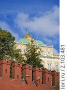 Купить «Московский Кремль. Большой Кремлевский дворец. Фрагмент», эксклюзивное фото № 2103481, снято 30 сентября 2010 г. (c) Алёшина Оксана / Фотобанк Лори