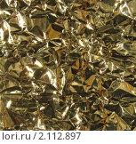Купить «Металлическая текстура  - мятая золотая фольга», фото № 2112897, снято 21 сентября 2010 г. (c) Светлана Ильева (Иванова) / Фотобанк Лори