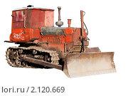 Купить «Старый бульдозер изолированный на белом фоне», фото № 2120669, снято 23 июня 2010 г. (c) Андрей Востриков / Фотобанк Лори