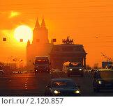 Купить «Москва, Кутузовский, Триумфальная арка», фото № 2120857, снято 19 февраля 2009 г. (c) Юрий Кирсанов / Фотобанк Лори