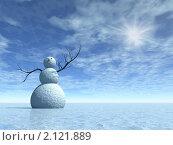 Купить «Снеговик в вечно-ледяном пейзаже», иллюстрация № 2121889 (c) ElenArt / Фотобанк Лори