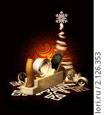 Купить «Старый рубанок с завитками стружки. Снежинки из дерева и стилизованная новогодняя елка из стружки», эксклюзивная иллюстрация № 2126353 (c) Александр Павлов / Фотобанк Лори