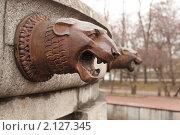 Купить «Голова рычащего льва. Фрагмент фонтана у Московского Государственного Университета. Москва», фото № 2127345, снято 10 ноября 2010 г. (c) Елена Морозова / Фотобанк Лори