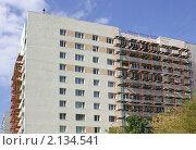 Купить «Капитальный ремонт фасада дома», эксклюзивное фото № 2134541, снято 8 сентября 2010 г. (c) Наталия Шевченко / Фотобанк Лори