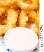 Купить «Кольца кальмара, жаренные в кляре и миска с соусом», фото № 2147965, снято 17 ноября 2010 г. (c) Александр Подшивалов / Фотобанк Лори