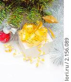 Купить «Подарочная коробка под елкой», фото № 2156089, снято 22 ноября 2010 г. (c) Екатерина Тарасенкова / Фотобанк Лори