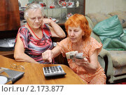 Купить «Две пожилые женщины вместе решают, как растянуть пенсию», эксклюзивное фото № 2173877, снято 28 ноября 2010 г. (c) Анна Мартынова / Фотобанк Лори