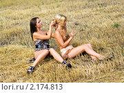 Купить «Красивые девушки сидят на скошенном поле», фото № 2174813, снято 15 августа 2009 г. (c) Сергей Сухоруков / Фотобанк Лори