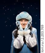 Купить «Снегурочка чему-то радостно удивляется», фото № 2203769, снято 5 декабря 2010 г. (c) Владимир Мельников / Фотобанк Лори