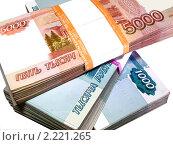 Купить «Пачки бумажных денег в банковской упаковке», фото № 2221265, снято 9 ноября 2010 г. (c) Евгений Ткачёв / Фотобанк Лори
