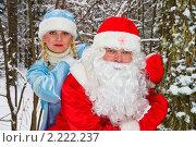 Купить «Дед Мороз и Снегурочка выглядывают из-за дерева», фото № 2222237, снято 6 января 2007 г. (c) Евгений Горбунов / Фотобанк Лори