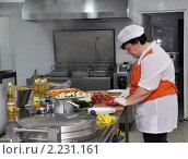 Купить «Повар на кухне школьной столовой», эксклюзивное фото № 2231161, снято 17 декабря 2010 г. (c) Анна Мартынова / Фотобанк Лори