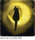 Лунный кот. Стоковая иллюстрация, иллюстратор Фомченкова Юлия / Фотобанк Лори
