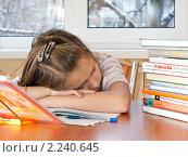 Купить «Школьница устала и уснула, делая уроки», эксклюзивное фото № 2240645, снято 23 декабря 2010 г. (c) Игорь Низов / Фотобанк Лори