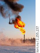Купить «Нефтяной факел. Сжигание попутного газа», фото № 2255237, снято 2 января 2011 г. (c) Икан Леонид / Фотобанк Лори