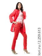 Купить «Девушка в красном», фото № 2259613, снято 3 октября 2009 г. (c) Сергей Сухоруков / Фотобанк Лори