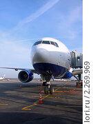 Купить «Пассажирский самолет на посадке в аэропорту у телескопического трапа», фото № 2269969, снято 1 ноября 2010 г. (c) Владимир Сергеев / Фотобанк Лори