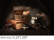 Старинный фотоаппарат с объективом, сундук, ракушка, фигурка слона и книга. Стоковое фото, фотограф Майорова Юлия / Фотобанк Лори