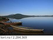 Берег озера на Урале ранним утром. Стоковое фото, фотограф Сергей Афонин / Фотобанк Лори