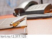 Купить «Телефонный аппарат и блокнот в кожаной обложке», фото № 2317125, снято 25 января 2011 г. (c) Влад Нордвинг / Фотобанк Лори