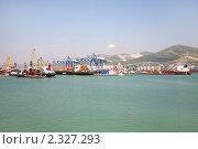 Купить «Панорама морского грузового порта в Новороссийске», фото № 2327293, снято 6 августа 2010 г. (c) Наталья Волкова / Фотобанк Лори