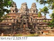 Крупный план древнего кхмерского храма Та Кео в храмовом комплексе Ангкор Ват, Сием Риап, Камбоджа. Стоковое фото, фотограф Николай Винокуров / Фотобанк Лори