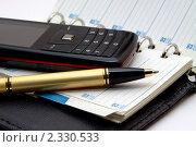 Ручка  и телефон лежат на ежедневнике. Стоковое фото, фотограф Roman Firsov / Фотобанк Лори