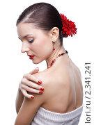 Купить «Девушка с цветком герберы в волосах», фото № 2341241, снято 17 декабря 2010 г. (c) Serg Zastavkin / Фотобанк Лори