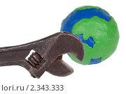 Купить «Пластилиновый глобус и гаечный ключ», фото № 2343333, снято 4 февраля 2011 г. (c) Дмитрий Грушин / Фотобанк Лори