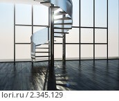 Лестница на фоне окна. Стоковая иллюстрация, иллюстратор Дмитрий Солодянкин / Фотобанк Лори