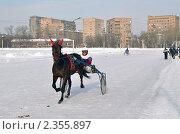 Купить «Бега на московском ипподроме. (Тренировка)», эксклюзивное фото № 2355897, снято 20 февраля 2011 г. (c) lana1501 / Фотобанк Лори