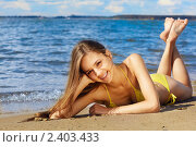 Купить «Сексуальная девушка на пляже», фото № 2403433, снято 19 августа 2009 г. (c) Serg Zastavkin / Фотобанк Лори