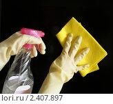 Купить «Руки в резиновых перчатках и с флаконом моющего средства в процессе уборке», фото № 2407897, снято 24 мая 2019 г. (c) valentina vasilieva / Фотобанк Лори