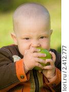 Мальчик ест яблоко. Стоковое фото, фотограф Александр Жильцов / Фотобанк Лори