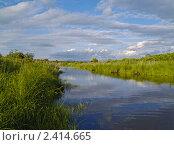 Купить «Летний пейзаж с озером под облачным небом», фото № 2414665, снято 23 июня 2010 г. (c) Олег Рубик / Фотобанк Лори