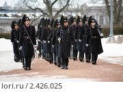 Купить «Марширующие норвежские королевские гвардейцы около королевского дворца в Осло», фото № 2426025, снято 7 марта 2011 г. (c) Михаил Марковский / Фотобанк Лори