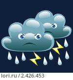 Купить «Ночью облачно с дождем и грозой», иллюстрация № 2426453 (c) Анастасия Некрасова / Фотобанк Лори