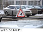 Знак на учебном автомобиле `За рулем - ученик` Стоковое фото, фотограф Володина Ольга / Фотобанк Лори