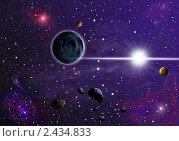 Яркая звезда с планетами и астероидами на фоне туманностей дальнего космоса. Стоковая иллюстрация, иллюстратор Алексей Баринов / Фотобанк Лори