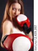 Купить «Красивая молодая девушка в боксерских перчатках», фото № 2439397, снято 27 февраля 2011 г. (c) Александр Фисенко / Фотобанк Лори