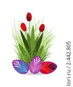 Купить «Тюльпаны и пасхальные яйца», иллюстрация № 2442805 (c) Елена Жучкова / Фотобанк Лори